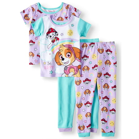 Toddler Girls' Cotton Tight Fit Pajamas, 4-Piece Set - Fancy Girls Pajamas