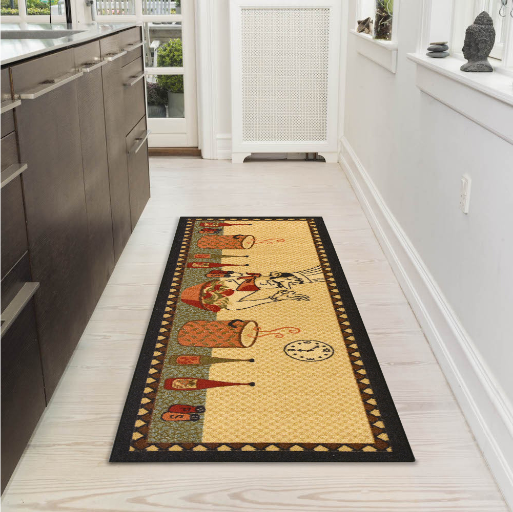 "Ottomanson Siesta Collection Kitchen Chef Design Non-Slip Runner Rug, Beige, 20"" X 59"""