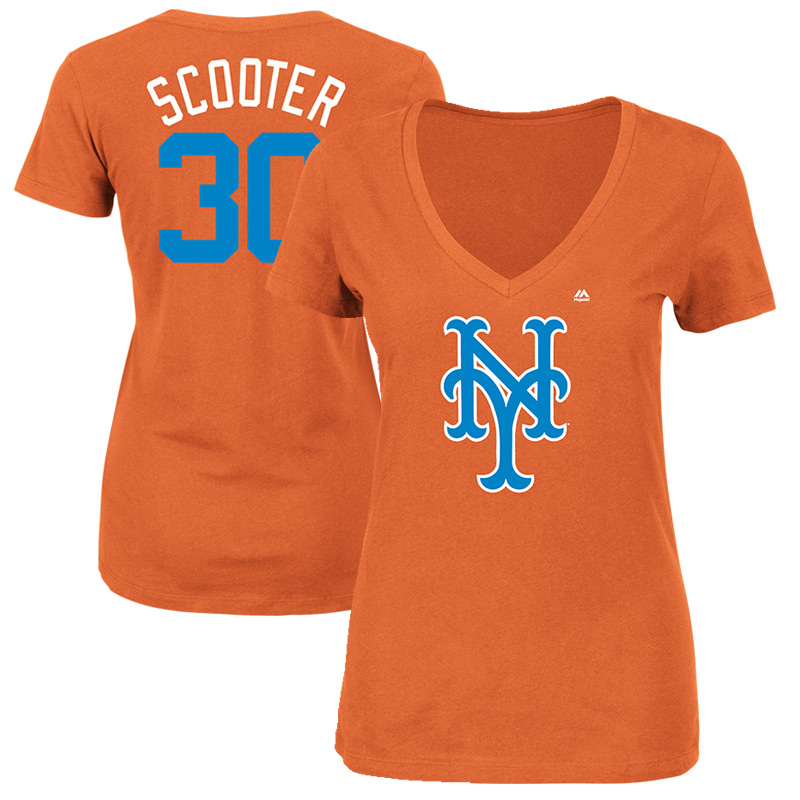 "Michael Conforto ""Scooter"" New York Mets Majestic Women's 2017 Players Weekend Name & Number T-Shirt - Orange"