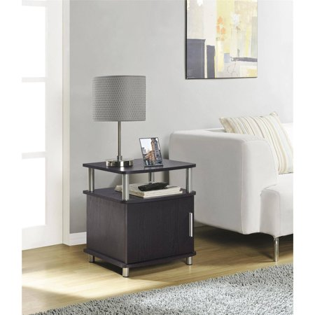 Ameriwood Home Carson End Table With Storage Espresso Silver