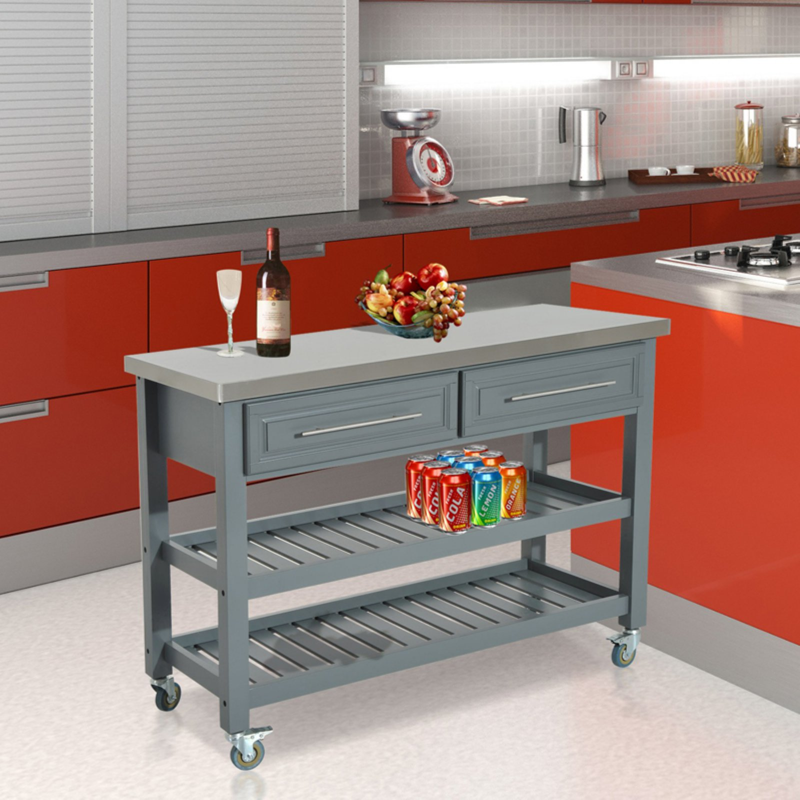 HomCom Country Kitchen Stainless Steel Storage Cart