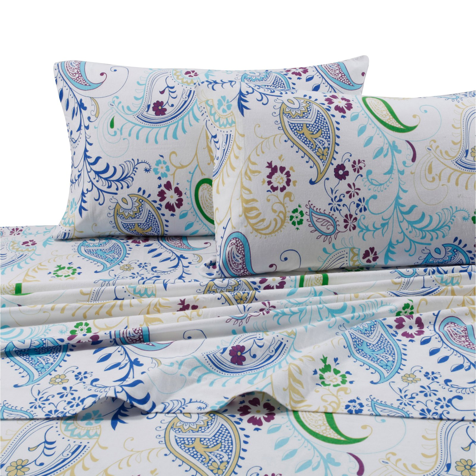 Printed Flannel 4 Piece Sheet Set by Tribeca Living - Paisley Garden