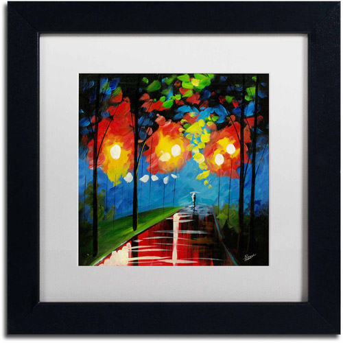 "Trademark Fine Art ""Night Reflection"" Canvas Art by Ricardo Tapia, White Matte, Black Frame"