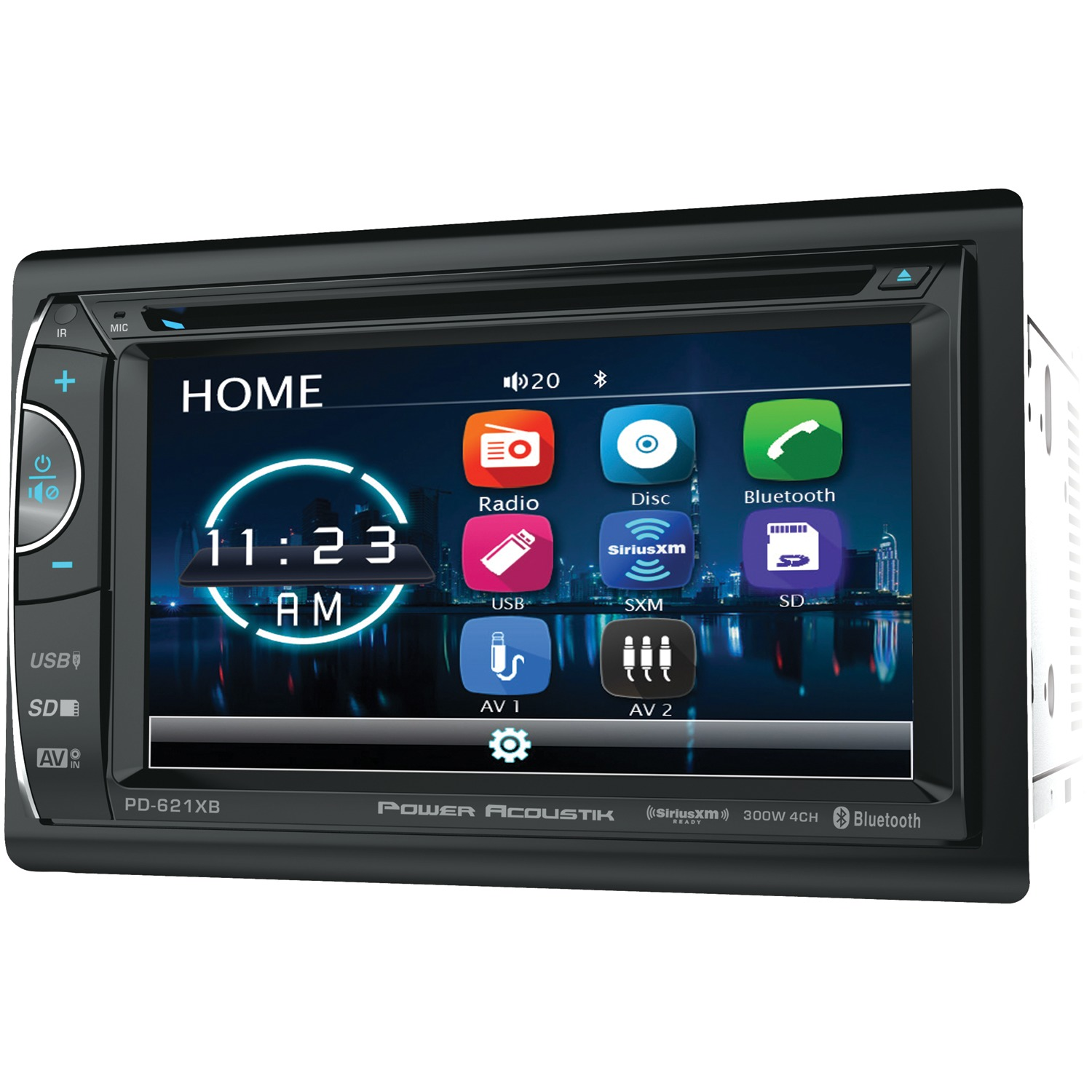 "Power Acoustik PH-620SXMB 6.2"" Double-DIN In-Dash DVD/SiriusXM Radio Bundle with 3 Months Free Service"