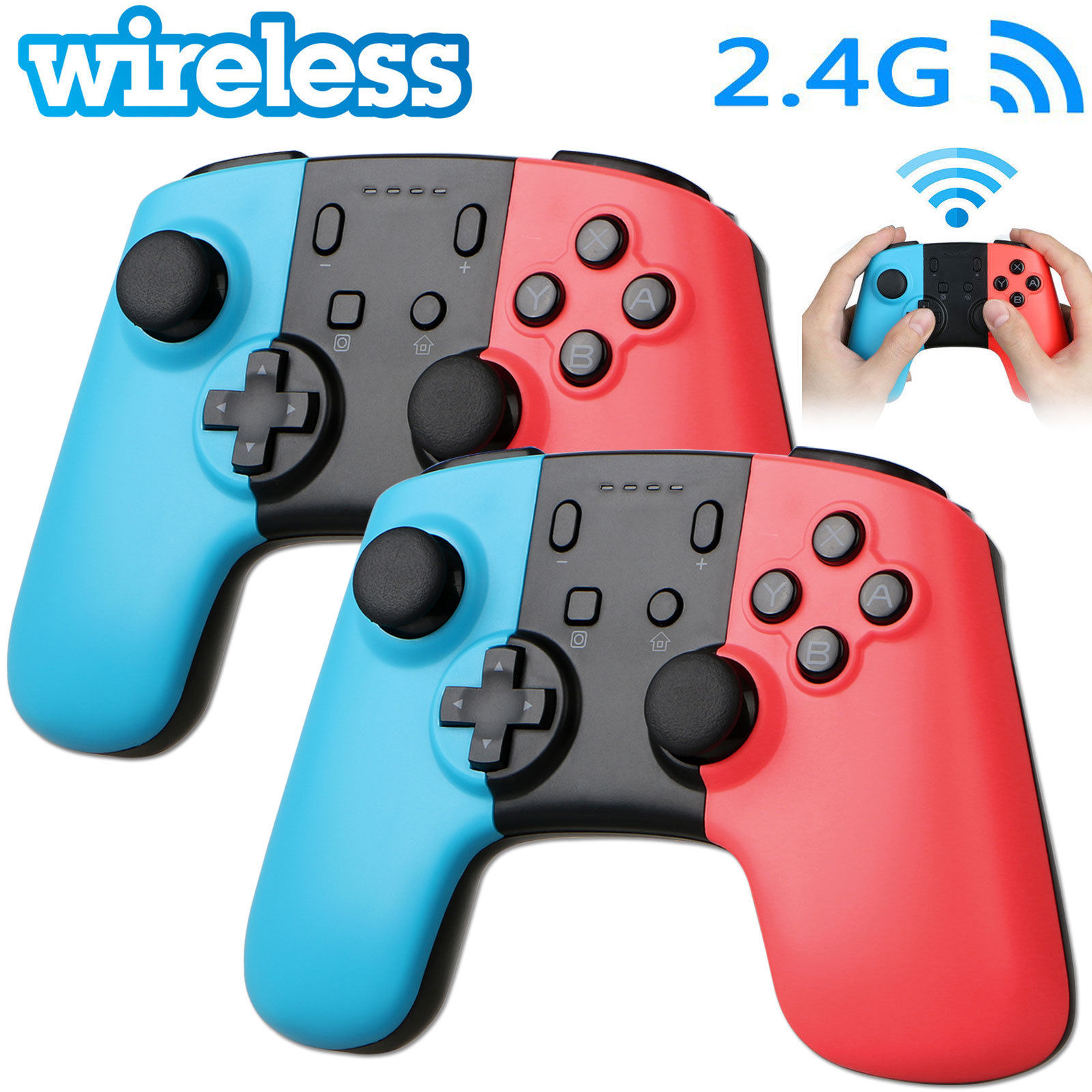 2PCS Wireless Remote Pro Controller Joypad Gamepad for Nintendo Switch - Blue + Red