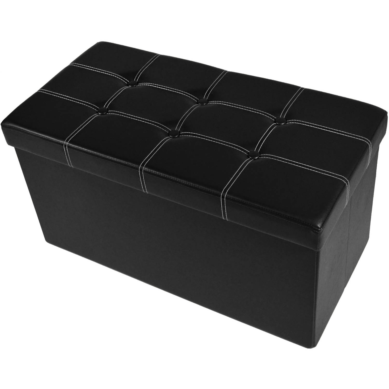 "Achim Collapsible Tufted Storage Ottoman, Faux Leather, 30"" x 15"" x 15"""