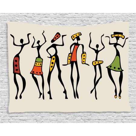 Afro Decor Tapestry, African Group Clan Dancers Ethnic Characters in Sketchy Festival Hand Drawn Artwork, Wall Hanging for Bedroom Living Room Dorm Decor, 60W X 40L Inches, Multi, by Ambesonne (African Art Work)