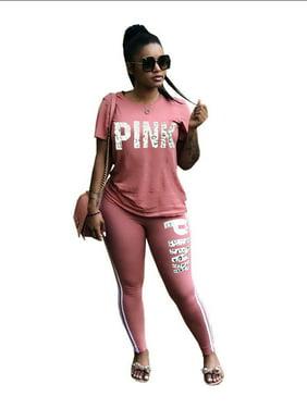 1146b5951949c Product Image Women Summer Short Sleeve Tracksuit Sport Casual Set Pink  Word Letter Print Sweatshirt Pantsuits Sweatpants Jumpsuits