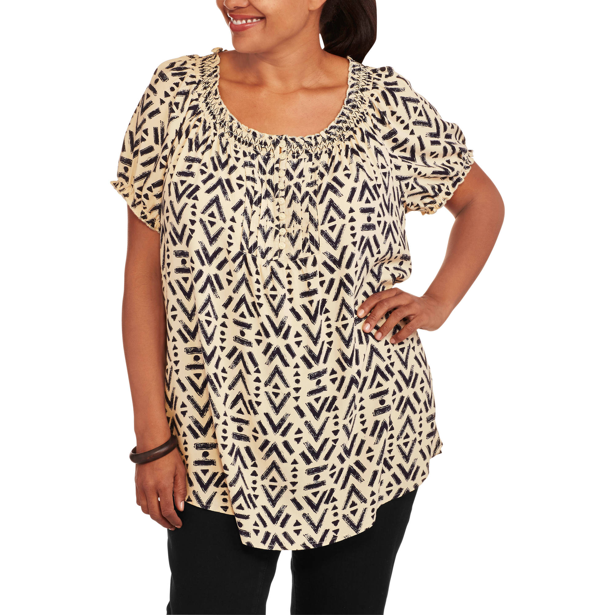 Faded Glory Women's Plus-Size Woven Peasant Top