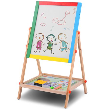 costway adjustable 2 in 1 wooden easel chalk drawing board black