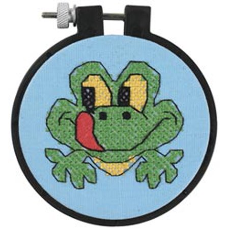 Dimensions Learn-a-Craft Friendly Frog Stamped Cross Stitch Kit, 3