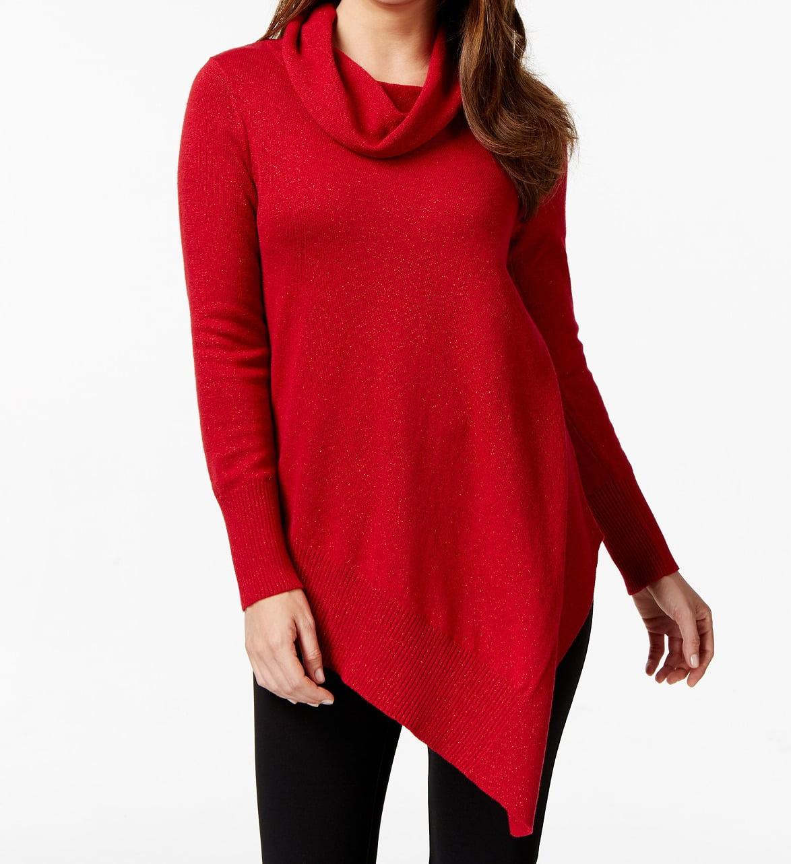 Alfani NEW Red Women's Size XL Sparkle Asymmetrical Cowl Neck Sweater