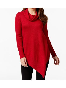 21348b556b Product Image Alfani NEW Red Women s Size XL Sparkle Asymmetrical Cowl Neck  Sweater