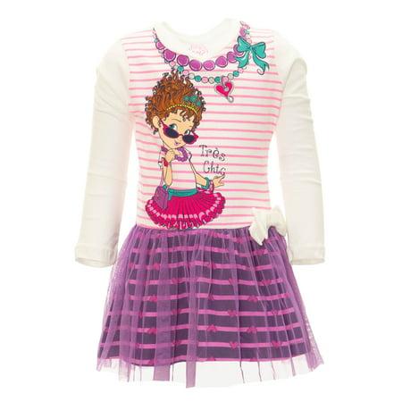 Disney Fancy Nancy Toddler Girls' Long-Sleeve Tulle Dress (White)