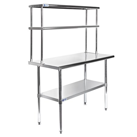 Aero Stainless Steel Tables (GRIDMANN Stainless Steel Commercial Kitchen Work Food Prep Table with Double Overshelf - Multiple Sizes Available)