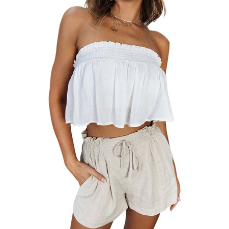 Women Summer Loose Casual Solid Color Pants Comfortable Linen Cotton Shorts