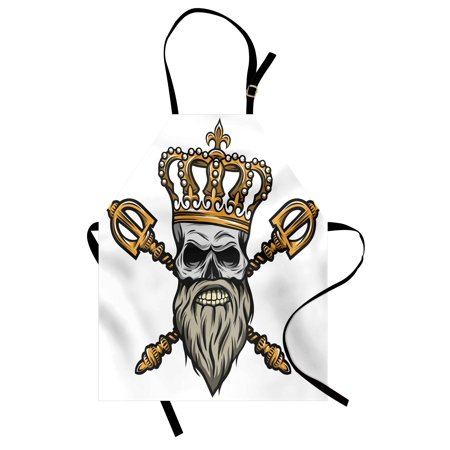 King Apron Ruler Skull Head with Gray Beard Crossed Royal Scepter Cartoon Seemed Image, Unisex Kitchen Bib Apron with Adjustable Neck for Cooking Baking Gardening, Golden and Pale Grey, by Ambesonne - Kings Septor