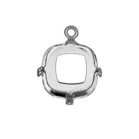Gita Jewelry Stone Setting for Swarovski Crystal, Open Back Square Pendant Base for 12mm Cushion, Rhodium (Swarovski Open Wing)