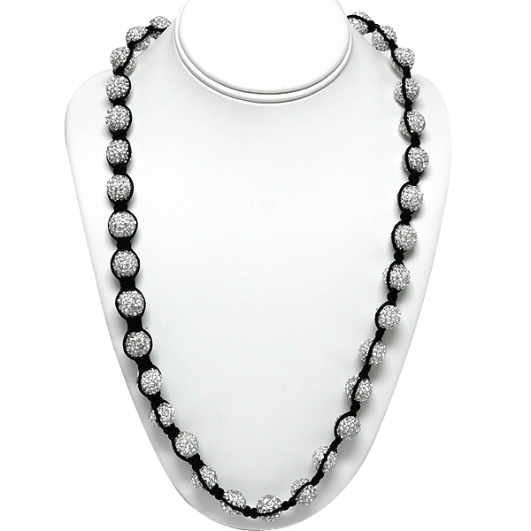 """Stunning 12mm Shiny Silver Crystal Pave Ball 25"""" Necklace Chain"""