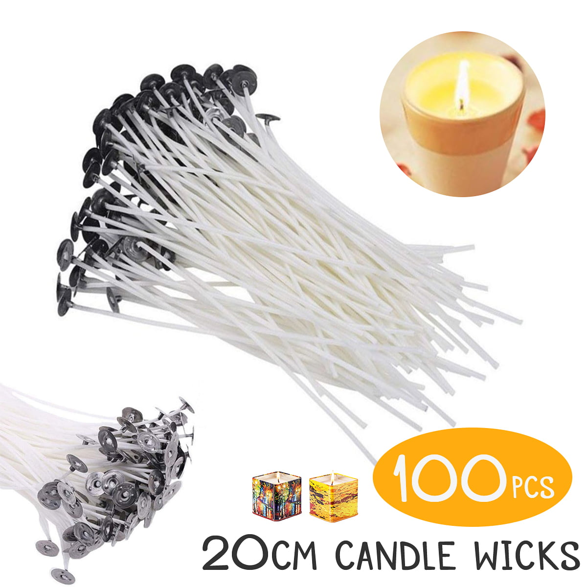 100 PCS Natural Low Smoke Candle Wicks Pre-Waxed Cotton Core Wicks Centering Device Pillar Candle Making and Candle DIY Wicks with 100 PCS Stickers and 1PC Centering Device Holder 6Inch