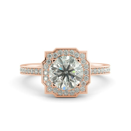1.85 ct Round Cut Brilliant Moissanite & Diamond Engagement Ring 18k Rose Gold