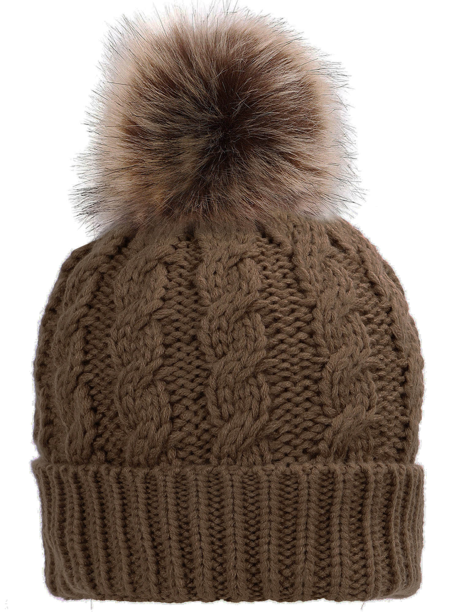 12faf09af1c Simplicity Men   Women s Winter Hand Knit Faux Fur Black Pompoms Beanie Hat  - Walmart.com