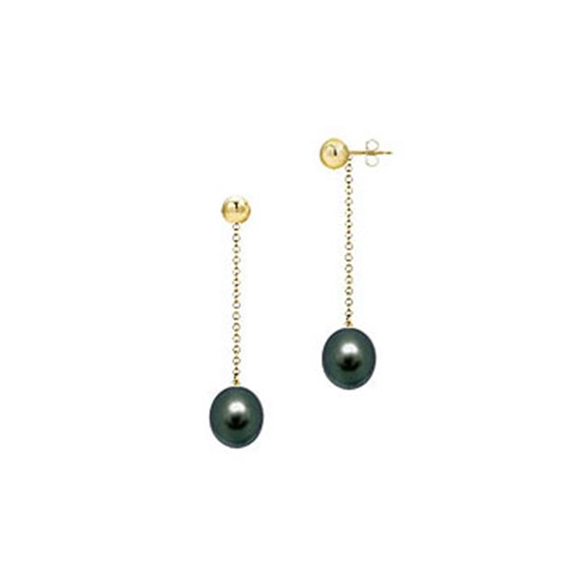 Fine Jewelry Vault UBER700914YAKBL07 Black Akoya Cultured Pearl Earrings- 14K Yellow Gold - 7 MM