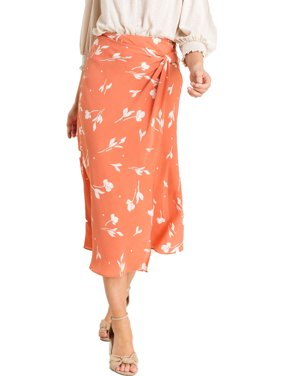 Lush Clothing Womens Printed Knot Midi Skirt