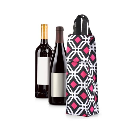 Wine Carrier Tote Bag For Travel By Zodaca Thermal Insulated Lightweight Bottle Carrying Case Whisky Glass Carry Holder