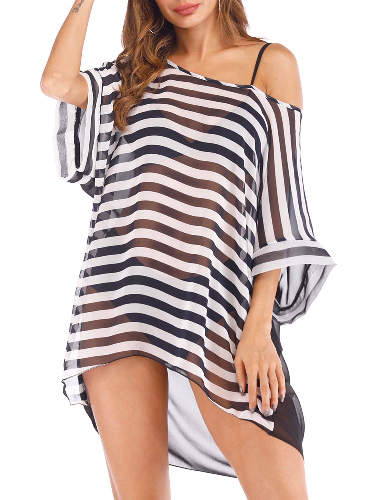 b368943619 Plus Size Sexy Stripe Chiffon Swim Cover Ups for Women Bikini Warp Cover Up  Beach Dress - Walmart.com