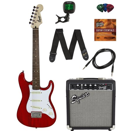 Squier by Fender Short Scale Stratocaster - Transparent Red Bundle with Frontman 10G Amp, Cable, Tuner, Strap, Picks, Fender Play Online Lessons, and Austin Bazaar Instructional (Best Amps For Fenders)