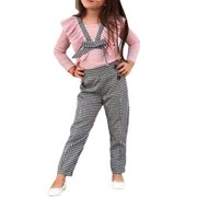 Multitrust 2PCS Toddler Kids Baby Girls Ruffle Tops Plaids Pants Winter Outfits Clothes