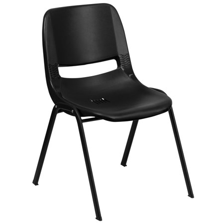 Flash Furniture HERCULES Series 661 lb. Capacity Ergonomic Shell Stack Chair with Black Frame and 16'' Seat Height, Multiple Colors