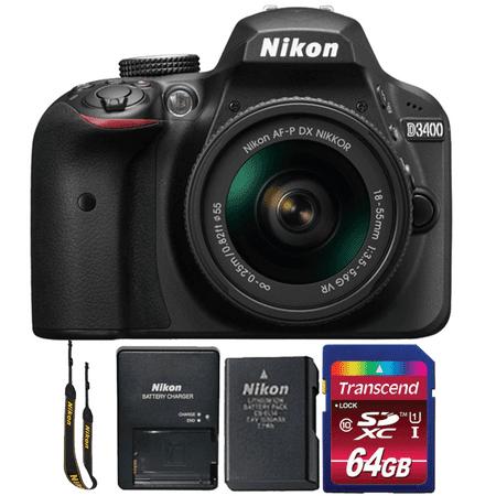 Nikon D3400 24MP Digital SLR Camera with 18-55mm Lens and 64GB Memory Card