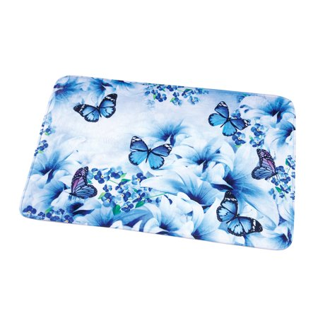 Blue Butterfly Garden Soft Cushion Bath Rug with Non-slip Backing](Butterfly Rug)