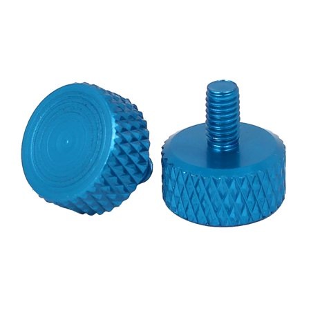 Computer PC Graphics Card Flat Head Knurled Thumb Screws Sky Blue M3.5x6mm 4pcs - image 1 of 3