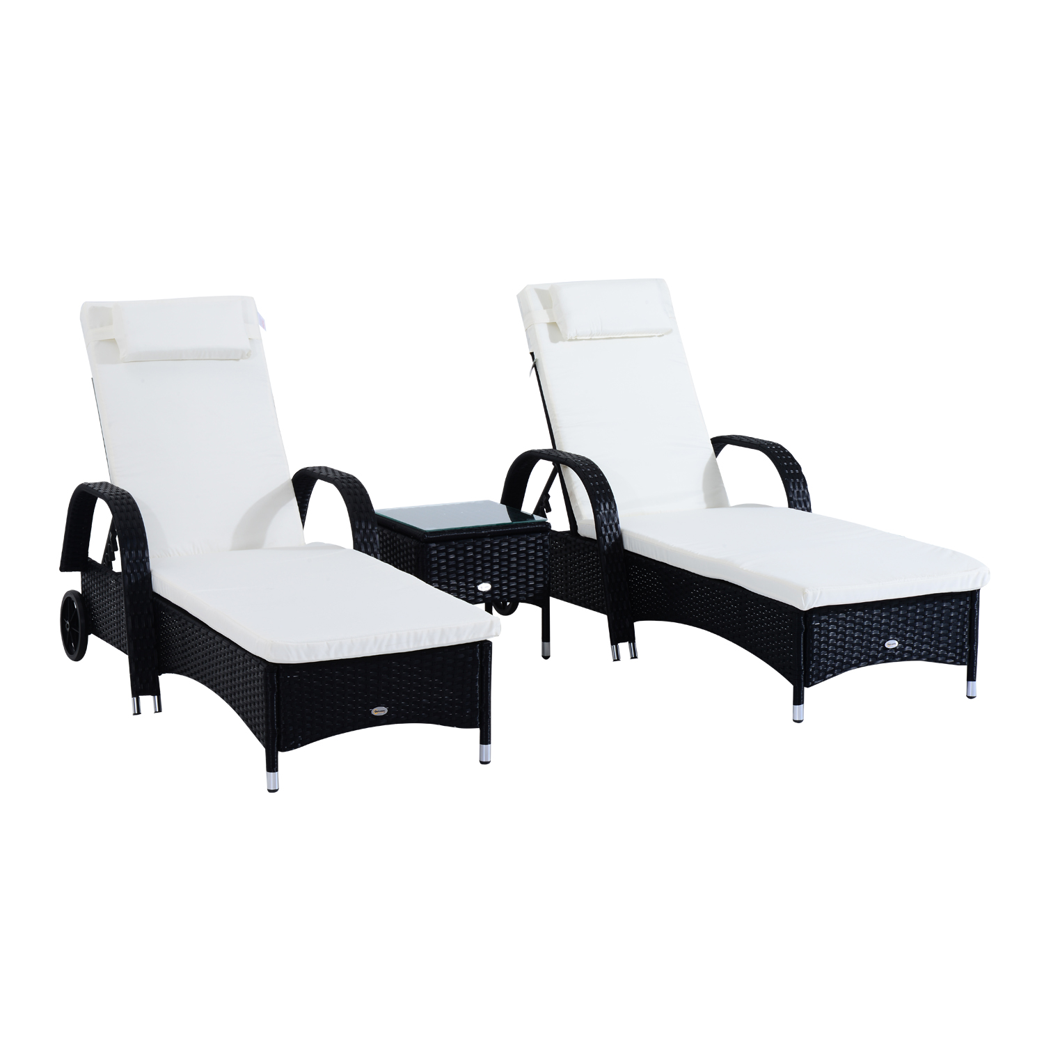 Outsunny 3 Piece Rattan Wicker Adjustable Chaise Lounge Chair With Wheels  Set  Black/White   Black