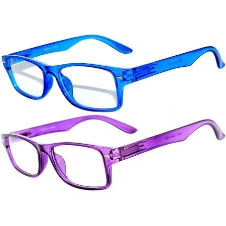 Narrow Retro Fashion Style Rectangular Purple Black Frame Clear Lens Eyeglasses (2 (Colored Eyeglass Lenses)