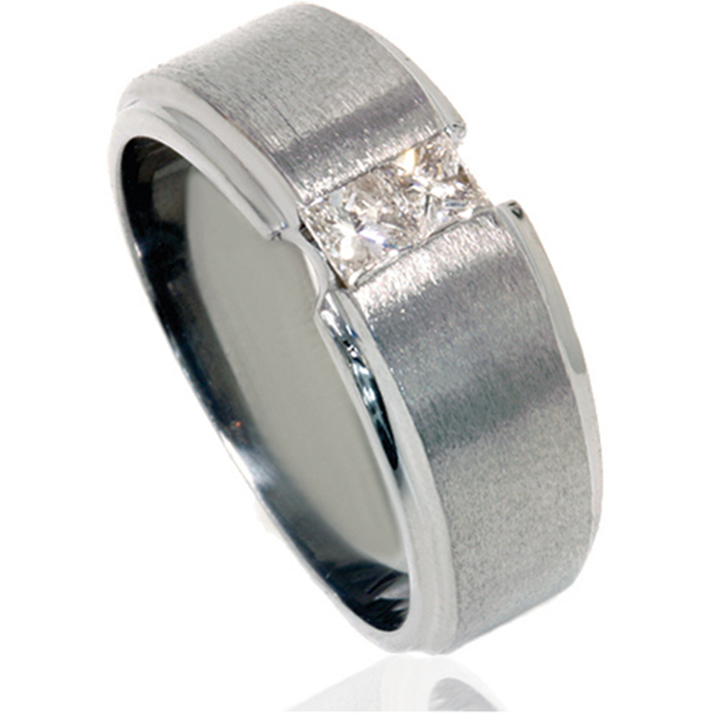 Pompeii3 1/4ct Princess Cut Mens Diamond Ring 14K Black Gold