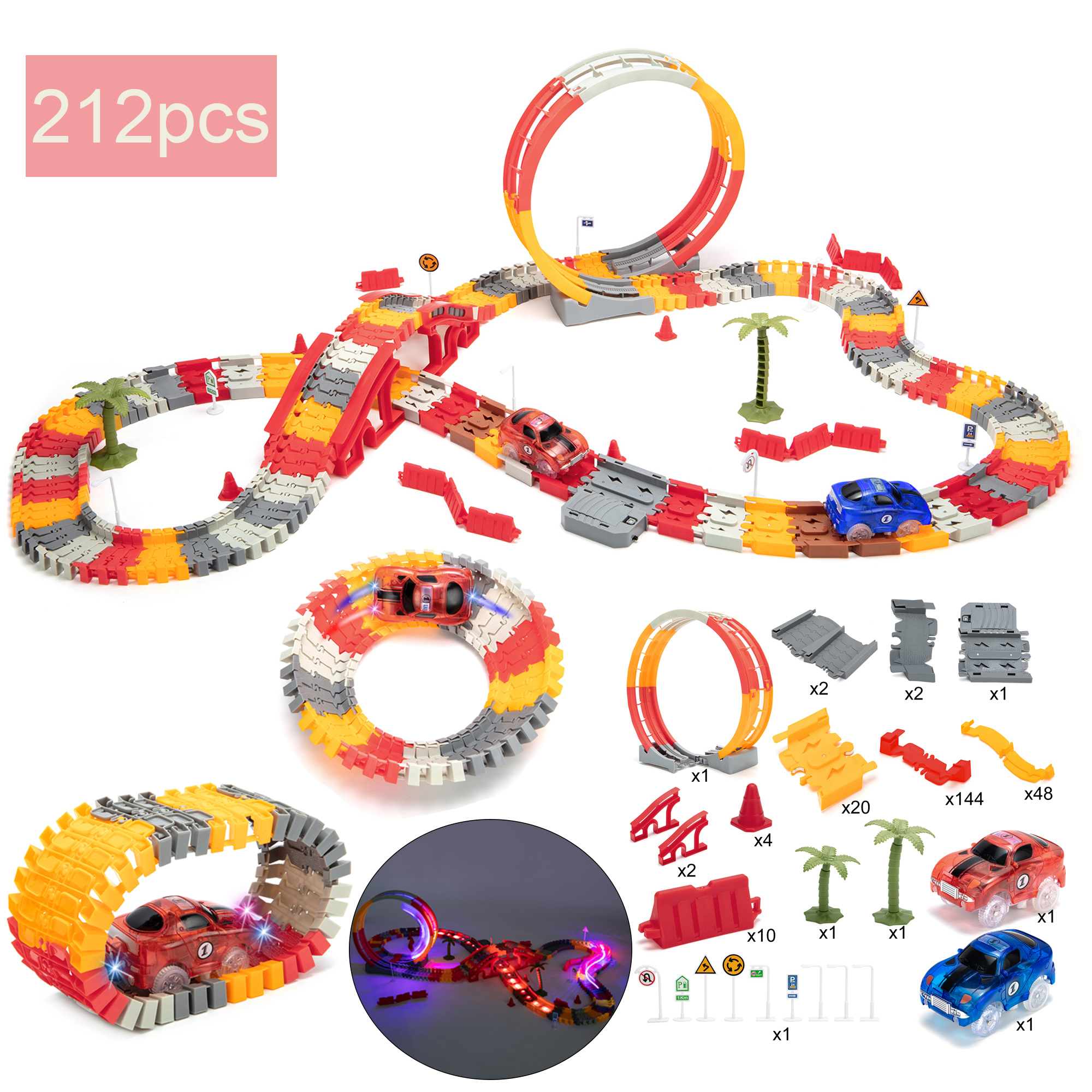 Car Track Fire Track Smart Car Fire Race Tracks Deluxe Garage with Toggle Switch and Music Button for Kids Age 3-7 Erwazi Race Tracks for Boys Multicolor