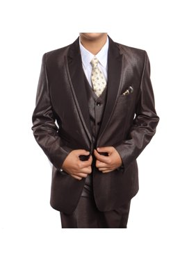 Boys Suit Satin Peak Lapel Three Piece Modern Fit Suits With Free Matching Shirt, Vest, And Tie