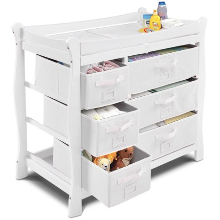 Costway White Sleigh Style Baby Changing Table Diaper 6 Basket Drawer Storage