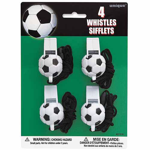 Soccer Ball Whistle Party Favors, 4-Count