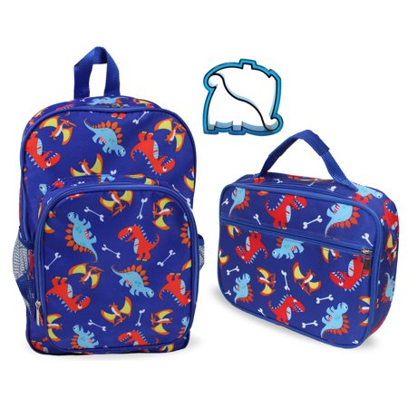 Keeli Kids Dinosaur School Lunch Box and Backpack Book Bag Set in Blue with Matching Sandwich Cutter