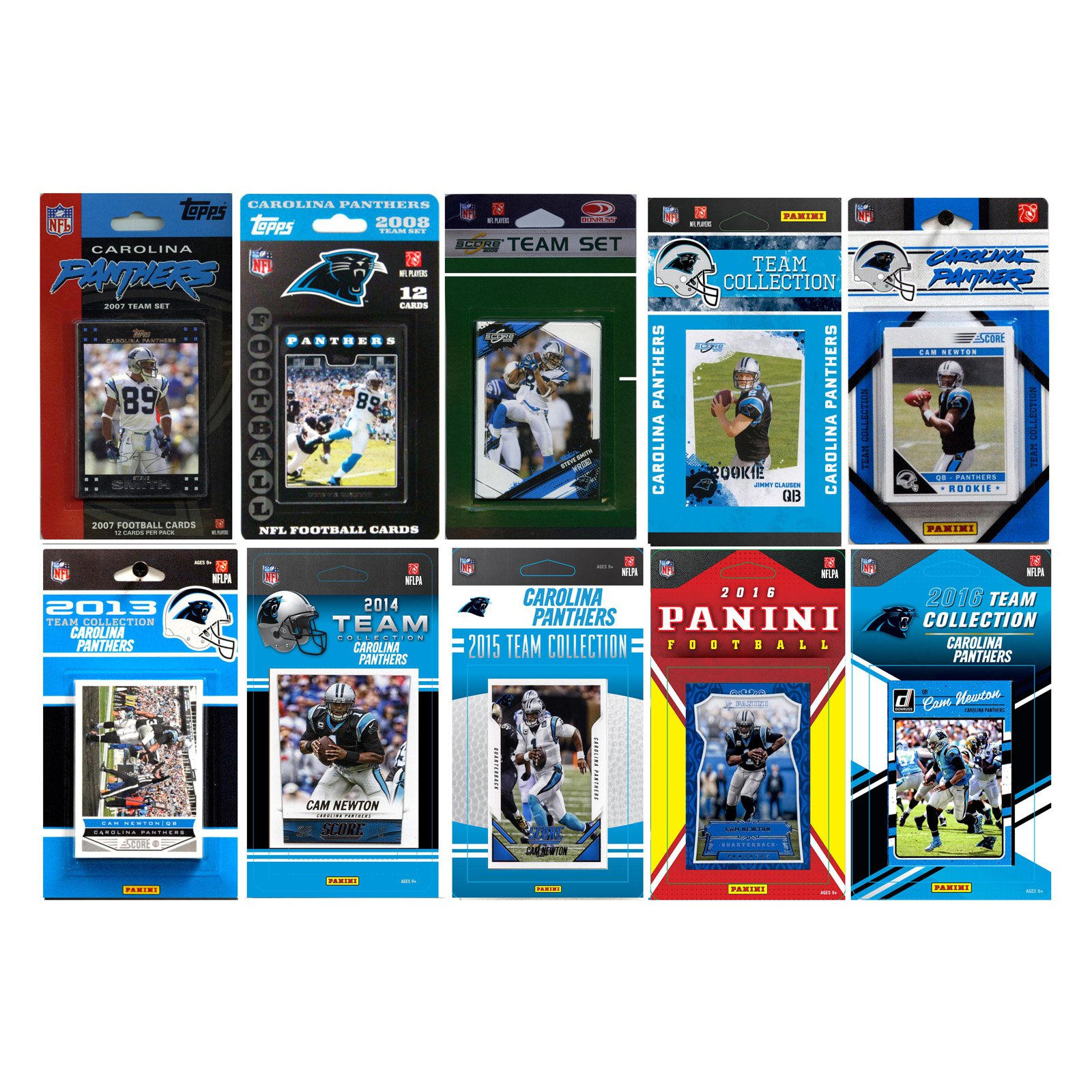 C & I Collectables NFL Carolina Panthers 10 Different Licensed Trading Card Team sets