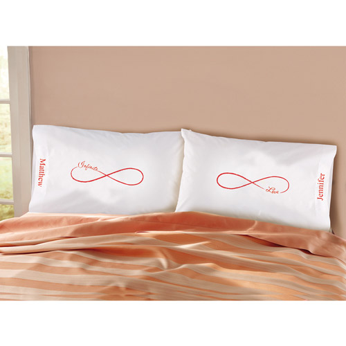Personalized Infinity Love Pillowcase Set, Set of 2