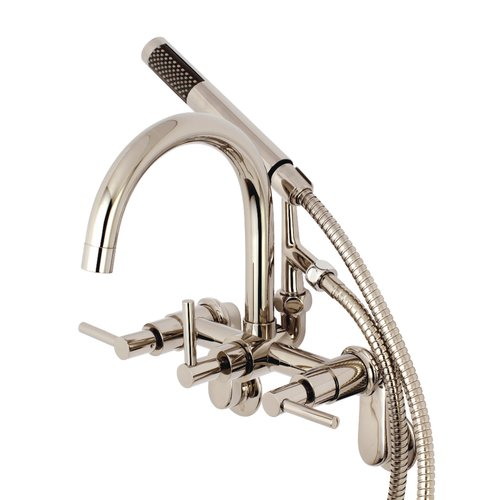 Kingston Brass Concord Triple Handle Clawfoot Tub Faucet with Handshower