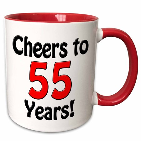 3dRose Cheers to 55 years. Red. - Two Tone Red Mug, 11-ounce ()