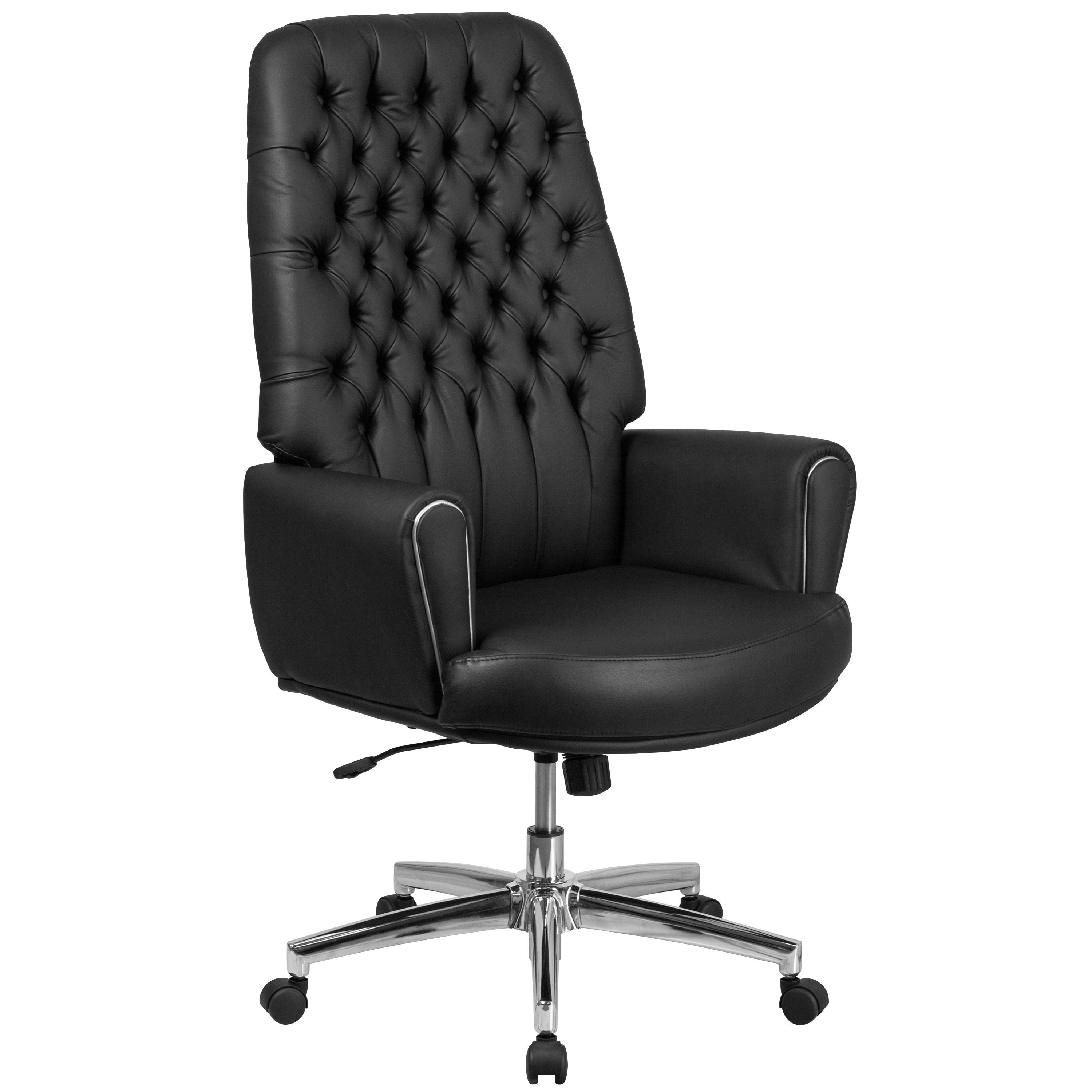 Lancaster Home High Back Traditional Tufted Bonded Leather Executive Swivel Chair with Arms
