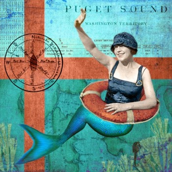 Puget Sound Mermaid Poster Print by Sandy Lloyd (22 x 22)